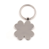 Promotional four leaves clover shaped blank metal keychain