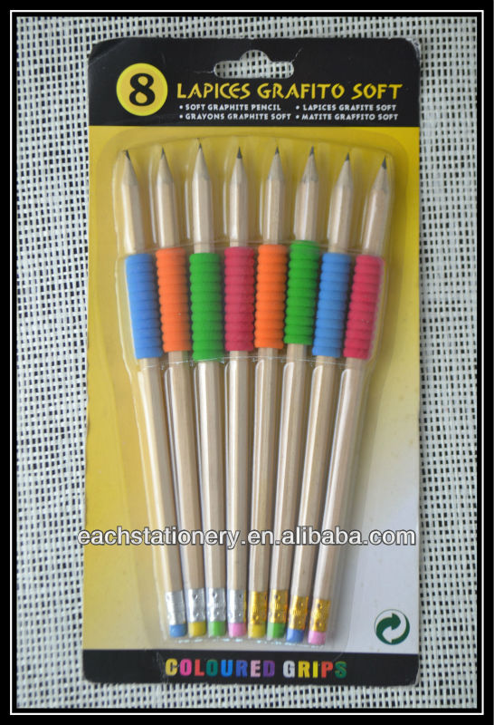 7'' Natural Wooden HB Pencil With Eraser and Coloured Grips