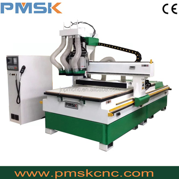 PM-1325 Trade assurance Professinoal 3 heads pneumatic cnc router 4 axis cnc wood engraving machine
