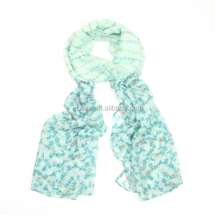 Silk scarves wholesale stripe sesign women scarf pink and green scarves