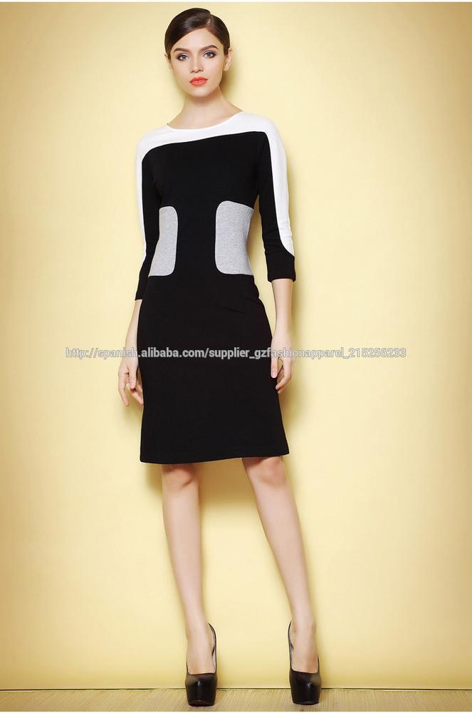 Vestido casual negro con blanco