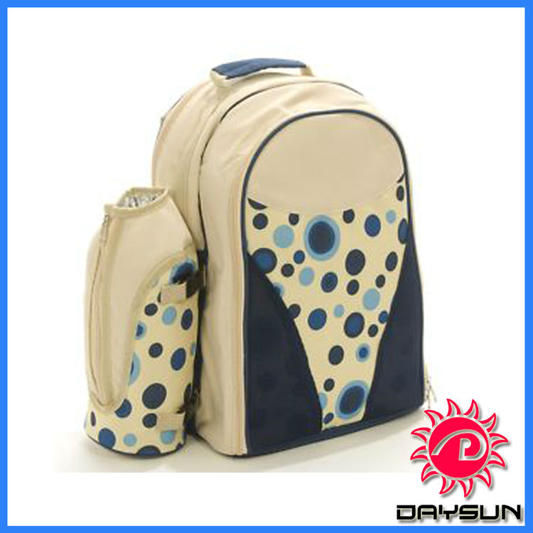 4 Person Blue Dot Picnic Rucksack, Picnic Backpack