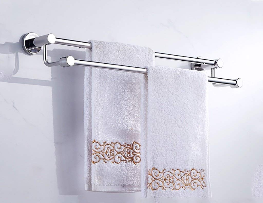 ZBB Towel holder towel holder/double towel rail (60cm, the stainless steel light, 304 stainless steel), on the wall auctioned bath towel holder Simple Style rooms