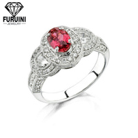 top quality red stone garnet color zircon engagement ring for women