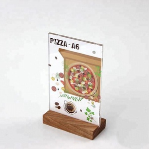 vertical A6 wooden base crystal acrylic poster display stand T shaped magnetic plexiglass table menu sign holder with wood