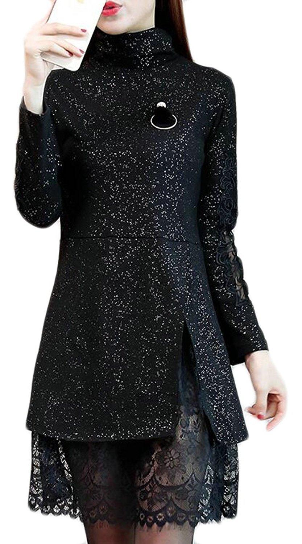 GenericWomen Generic Womens Bronzing Mock Neck Long Sleeve Lace Hem Thicken Pencil Midi Dress