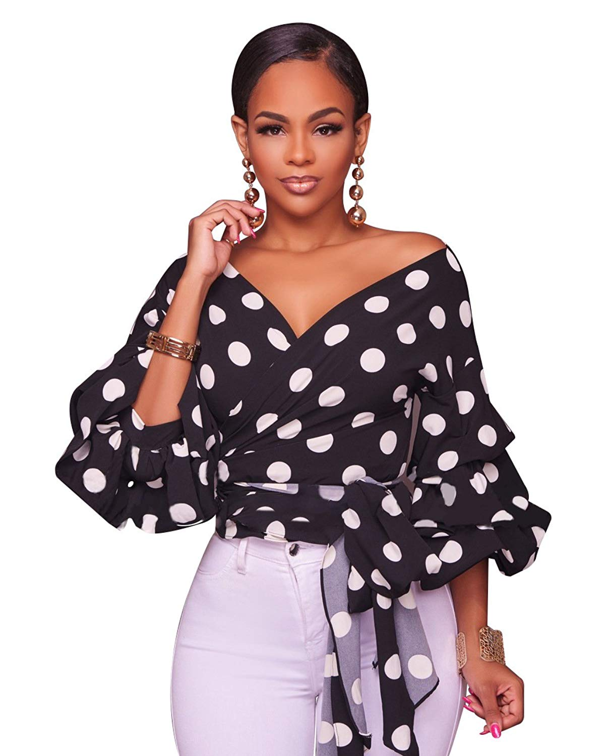 7034cb0ccede Get Quotations · LHS Charmer Women's Elegant V Neck Wrap Long Puff Sleeve  Polka Dots Blouse Shirt Tops with