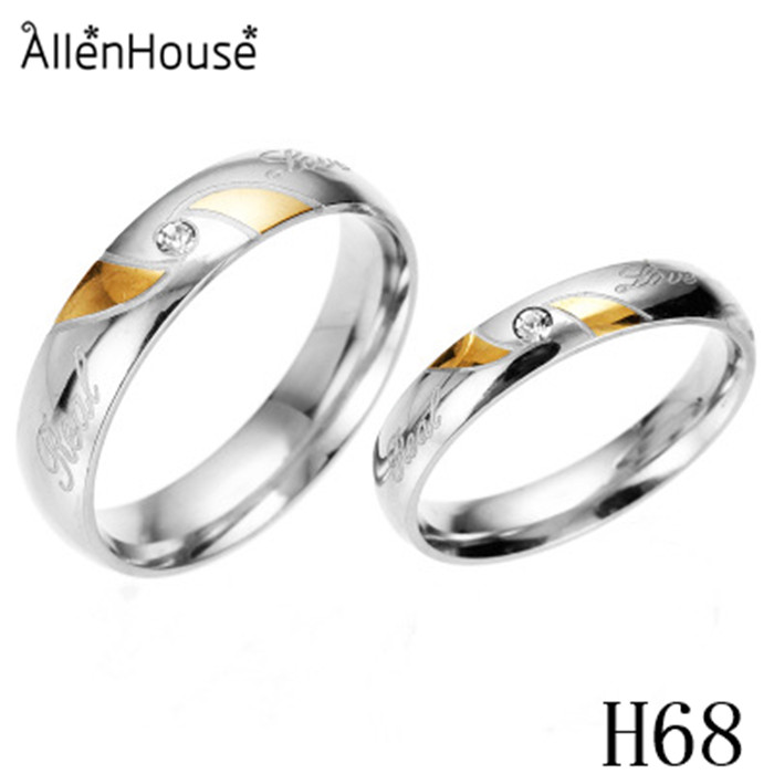 free sample IP Gold Plated Stainless Steel Wedding <strong>Ring</strong> With Zircon Inlayed for couples