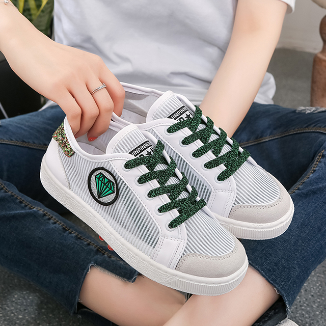 Women 's lace-up breathable sports shoes, shiny flat female shoes, Spell Color sneakers running