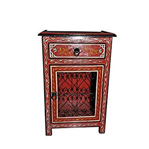 Moroccan Handpainted Nightstand Wood Iron Table Arabic Design Furniture Red