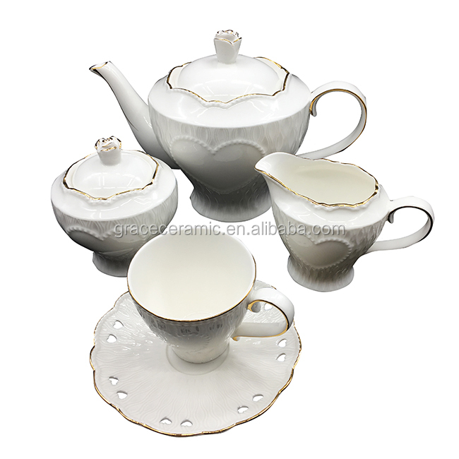 Commercio all'ingrosso 13pcs Prodotti di Ceramica Placcato In Oro Turco Coffee Set Tea Set