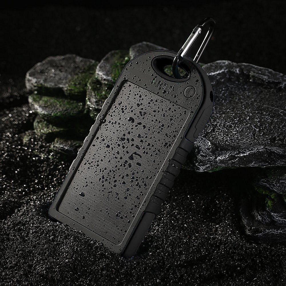 Solar Charger - Faddist Solar Portable Phone Battery Charger 12000mah Portable Backup Power Bank Pack Water/ Shock/ Dust Resistant Dual USB Charger 5000mah Solar Battery Panel Dual USB Port Rain-resistant, Dirtproof and Shockproof Portable Charger Backup External Battery Pack Power Bank for Iphone