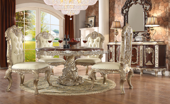 European Rococo Solid Wood Ivory Color Round Dining TableVilla Use High End Room