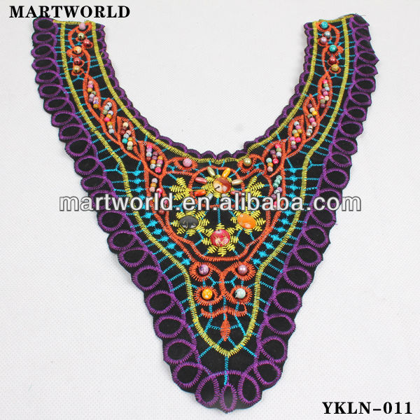 El último diseño bordó applique collar (YKLN-011)