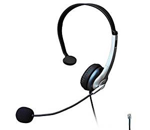 Voistek Corded Call Center Telephone Headset RJ9 Headphone with Mic Noise Cancelling for Aastra Polycom Mitel Office Landline Phones and Call Center (Monaural K10)