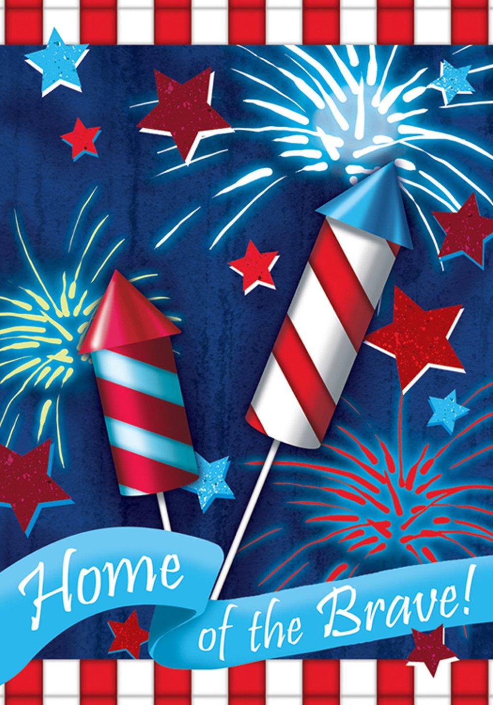Toland Home Garden Home Of The Brave 12.5 x 18 Inch Decorative Patriotic Summer July 4 Firework USA Garden Flag