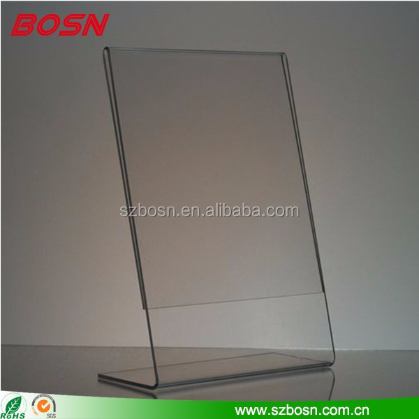 Manufactory top sell L shape white clear acrylic material photo frame holder