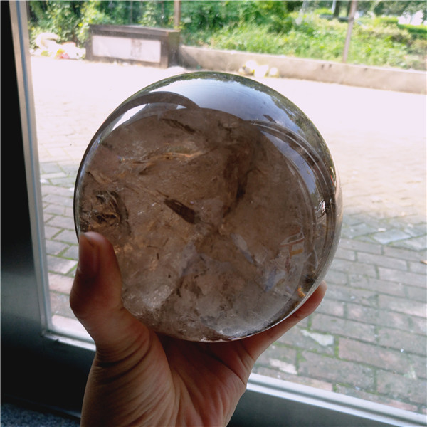 120mm diameter natural rainbow smoky quartz crystal sphere