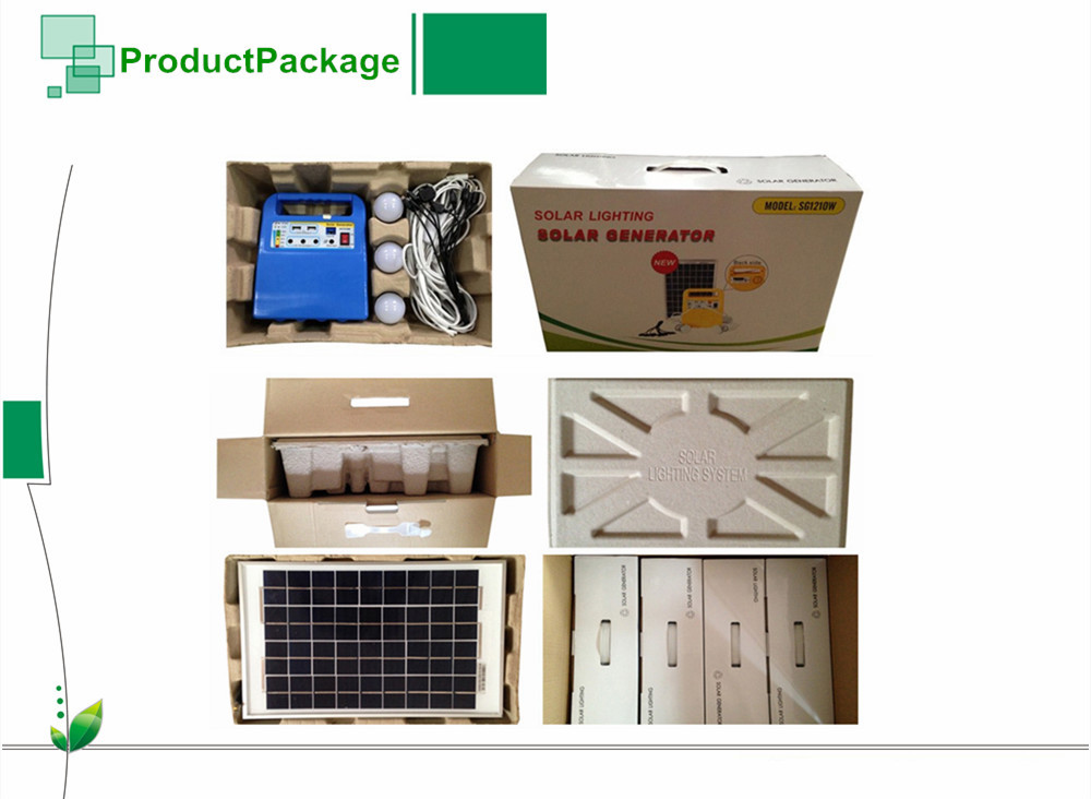 DC solar home power lighting system kit with bulbs