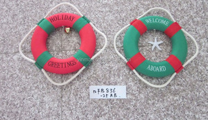 """Merry Christmas"" Lifebelt Rings Decoration, 25cm Diameter Christmas Tree Wall Art Life Buoy, Round Ring Craft For New Year"