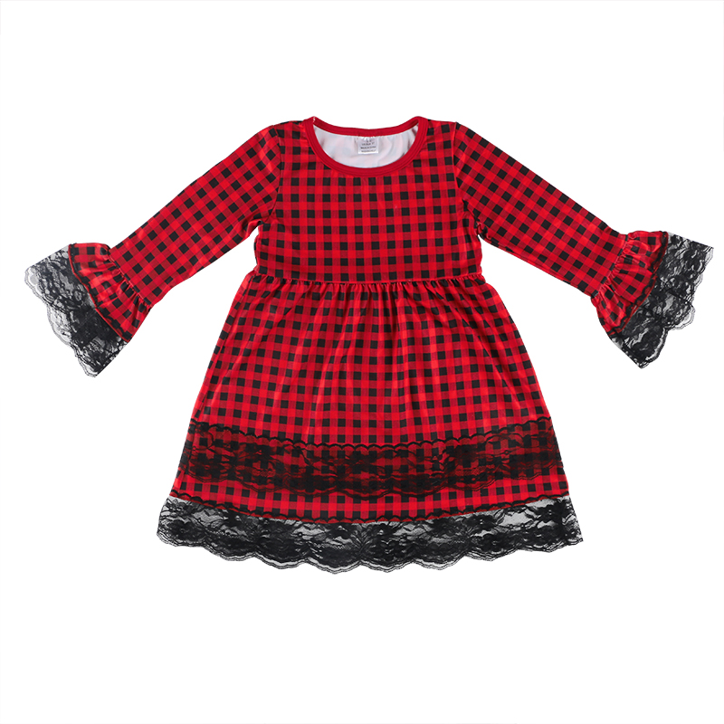 Wholesale Red Plaid Kids Dress Baby Girl Flare Sleeves Tunic Dress