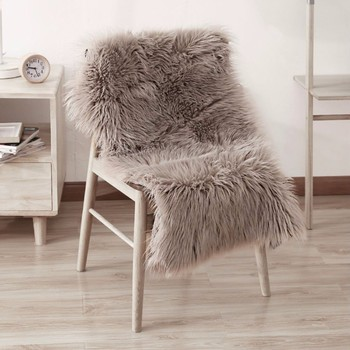 Beau Luxury Soft Faux Sheepskin Chair Cover Plush Fur Area Rugs