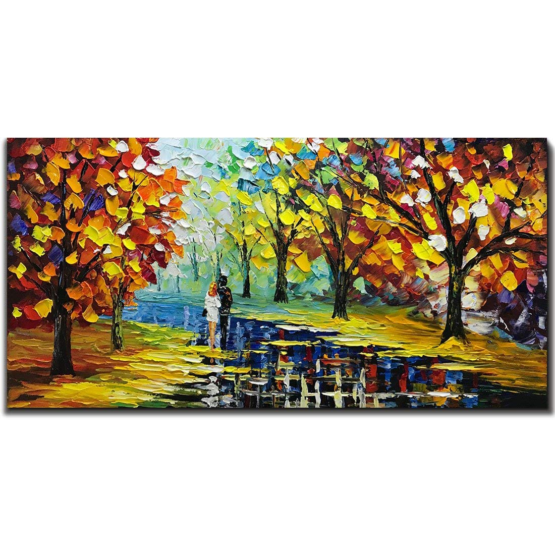 Fasdi-ART Paintings, 24x48 Inch Paintings, Love in the Forest Oil Hand Painting Painting 3D Hand-Painted On Canvas Abstract Artwork Art Wood Inside Framed Hanging Wall Decoration Abstract Painting
