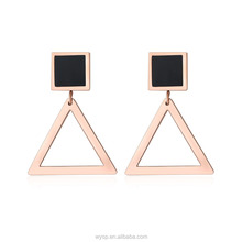High quality Fashion Square Triangle Shaped Earrings For Women Surgical Stainless Steel Ear jewelry With Black Plating Model