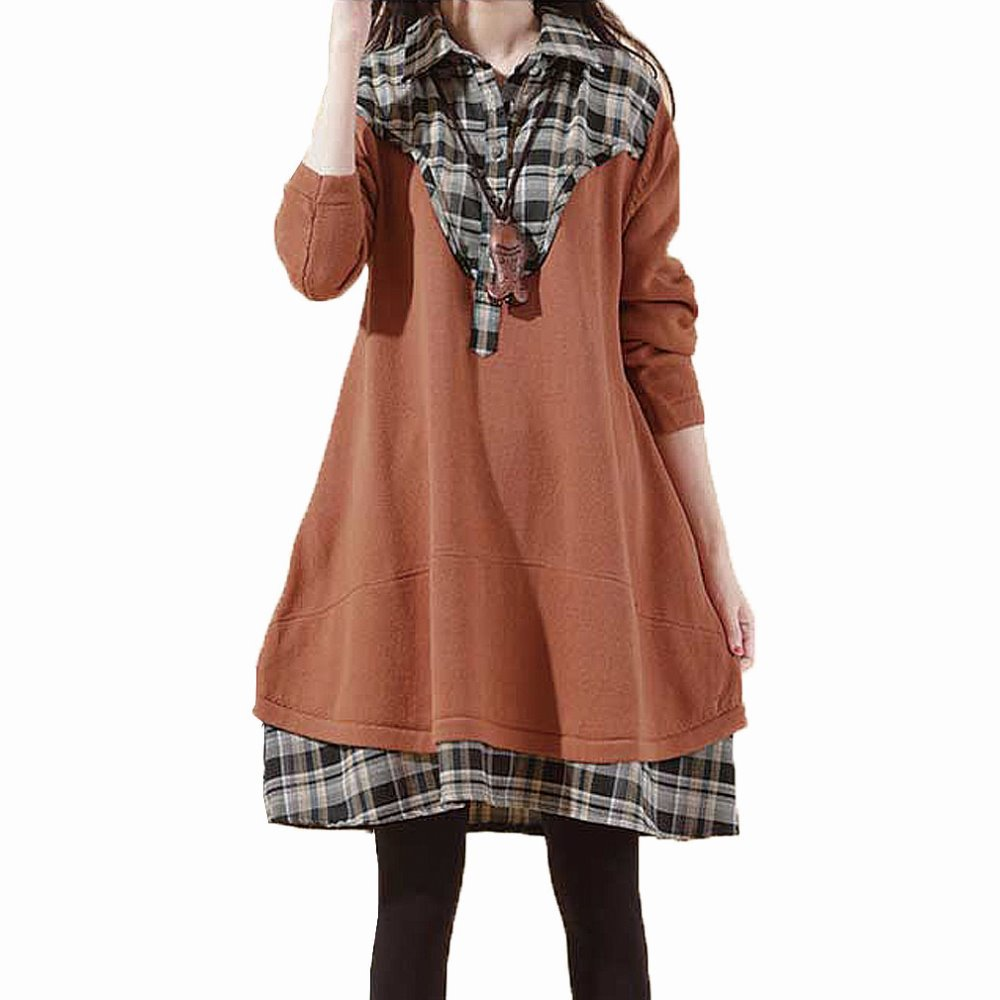 d9548ac53f86 Get Quotations · Fashion Plaid Patchwork Long sleeve Maternity Dresses Plus  Size Maternity Clothes for Pregnant Women Loose Casual