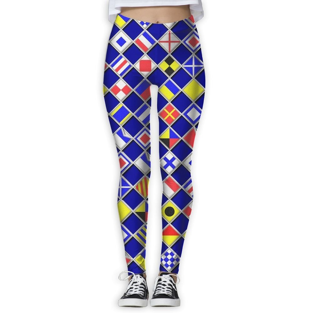 400d3d5aa Get Quotations · Checkered Nautical Signal Flags Women's Lightweight Yoga  Pants High Waist Fitness Quick Dry Yoga Athletic Pants