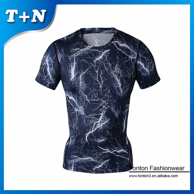 Durable Cool Men Personal Sublimated Compression Short Sleeve T Shirts