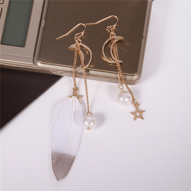 Europe Popular Gold Color Earring Fashion Feather star Tassel Pendant Hook Earrings Two pieces different earring