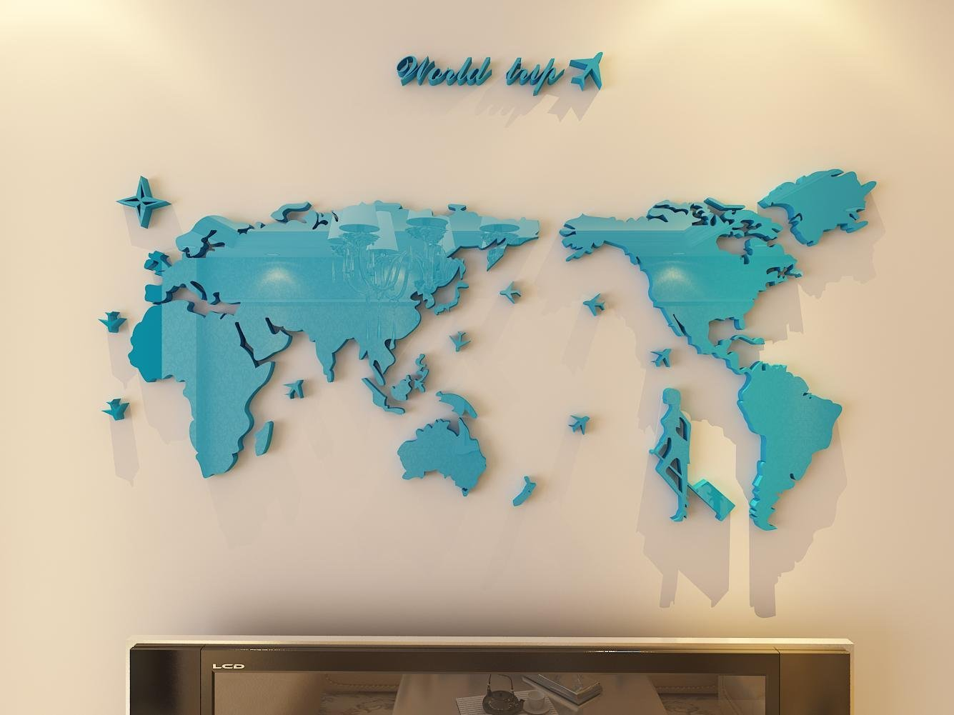 Plastic The World Trip Map Wall Stickers/Wall decals/Wall tattoos/Wall transfers (21(H) x 35(W) inches, Blue)