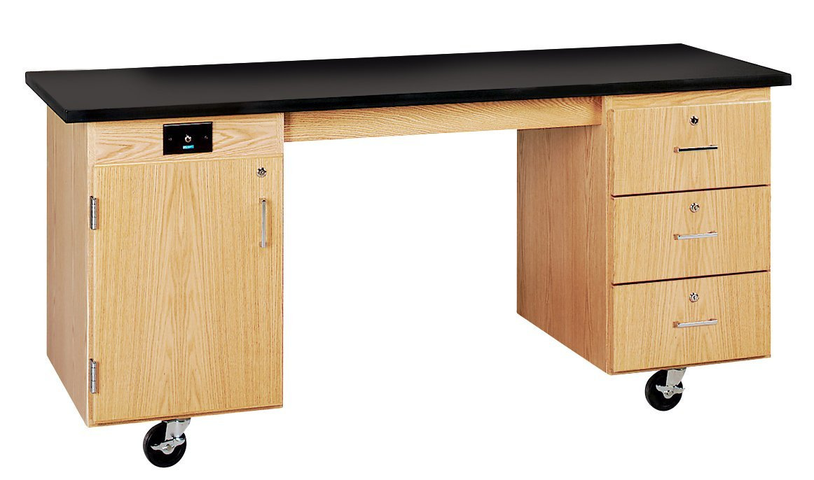"""Diversified Woodcrafts 4352KF UV Finish Solid Oak Wood ADA Compatible Mobile Lab Station with Flat ChemGuard Top, 72"""" Width x 33"""" Height x 27"""" Depth"""
