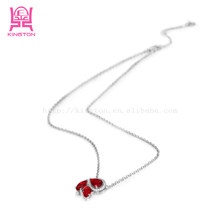 sterling silver pendant necklace with red zircon