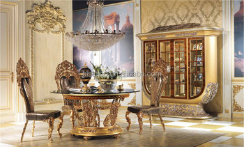 Elegant Design Wood Carving Round Dining Table Set French Marquetry