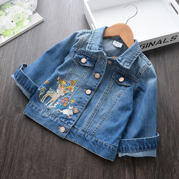 Autumn Baby Girls Clothes Coat Girls Jeans Denim Embroidery Infant Coats Jackets Kids Clothes
