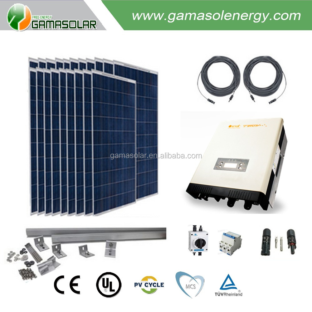 Gama Solar on grid solar power system 3kw 12kw house roof
