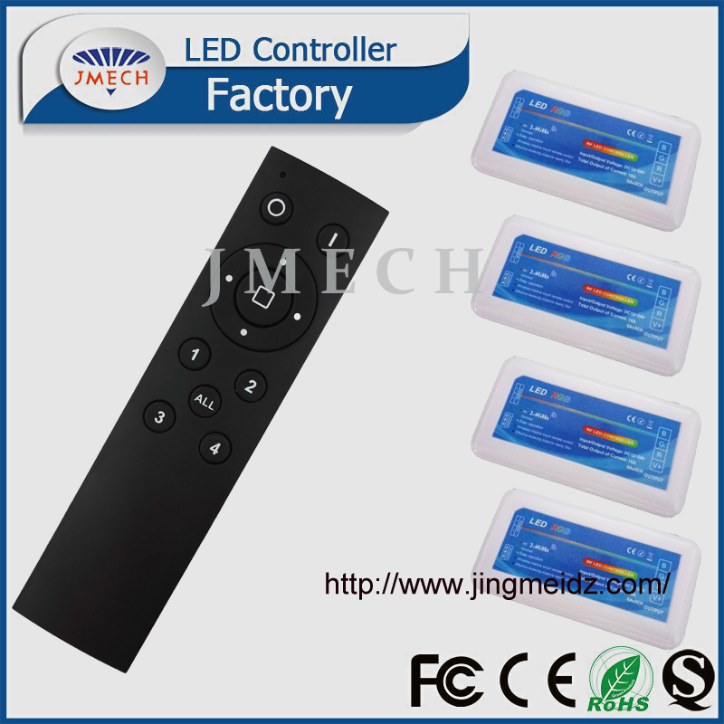 2.4G 4 Zone Group RGB LED Controller With black Remote DC12-24V 3x6A