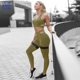 Custom summer 2 Piece sweat suit Workout Sport Active Wear Gym Fitness Clothing Yoga Pants leggings and Sports bra set for women