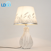 Modern Cordless Hotel Luxury Design Hotel Home Bedroom Decorate Bedside Fabric Shade Ceramic Led Reading table lamps