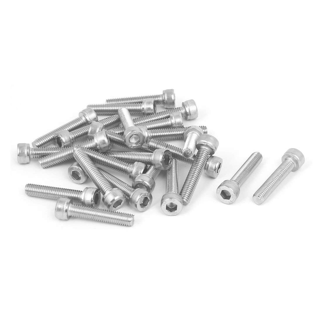 uxcell M3x35mm Thread 304 Stainless Steel Hex Socket Head Cap Screw Bolt DIN912 55pcs