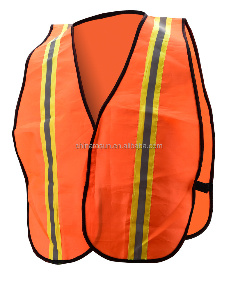 simple safety vest orange cheap green traffic accident ansi 100% polyester fabric motorcycle reflective vest