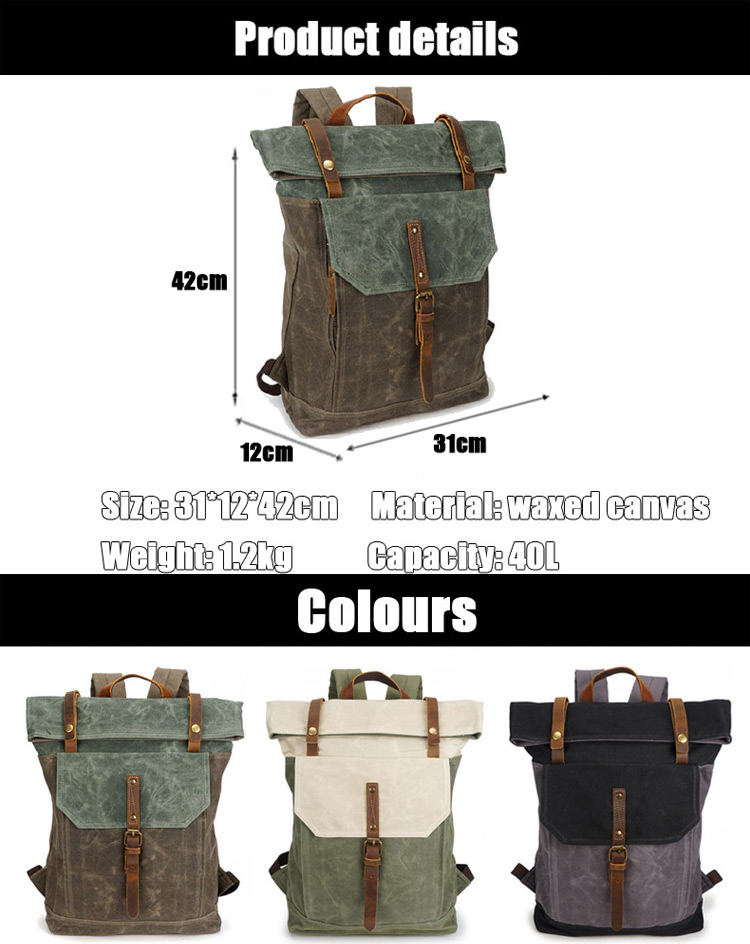 Latest multi color waxed canvas design camping outdoor waterproof bicycle rucksack bagpack backpack for traveling