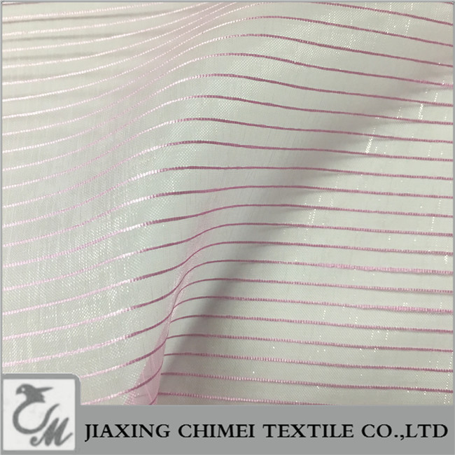 pink thin strip glitter organza for student prom dress