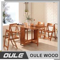 China Manufacturer Made Solid Wood Oak Folding Dinning Table Set