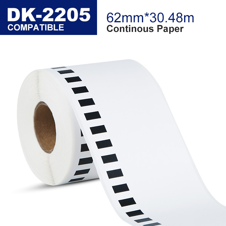Compatible brother DK-22205 DK-2205 DK2205 thermal adhesive barcode label roll 62mm x 30.48m