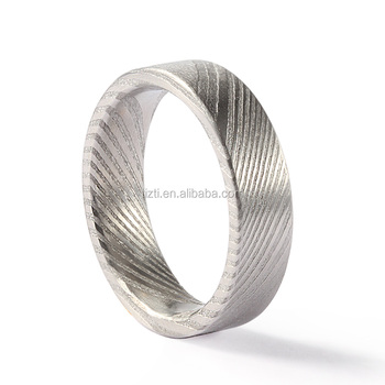 Flat damascus steel ring with brushed inside and outside effect wholesale damascus steel ring