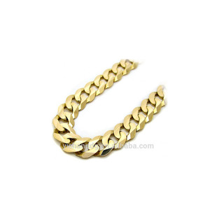 14k Yellow Gold Curb Cuban Link Stainless Steel Chain