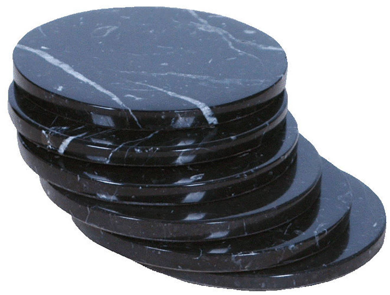 """Custom & Cool {3.5"""" x 3.5"""" Inches} Set Pack of 6 Round """"Flat & Smooth Texture"""" Drink Cup Coasters Made of Stone w/ Felt Bottom & Natural Stone Fancy Midnight Marble Design [Colorful Black & White]"""